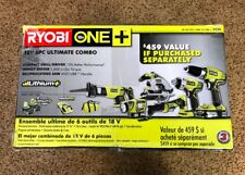 Brand New Ryobi One Plus + 6PC Combo Kit 18V Battery Impact Drill Saw Light P884