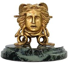 ANTIQUE NEOCLASSICAL-GOLD GILDED-BRONZE-MEDUSA INKWELL-GREEN MARBLE BASE-19th c