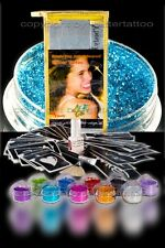60 Schablonen großes Glitzer Tattoo Party Set 10 Glitzerfarben 15ml Bodyglue