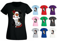 Womens Muerte Mexican Day Of The Dead Girl Chola Tattoo T-shirt NEW UK 6-18