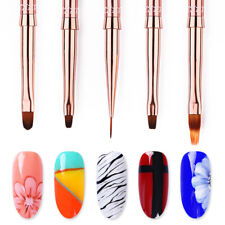 Painting UV Gel Nail Liner Brush Rose Gold Handle Nail Art Pen Drawing Tools