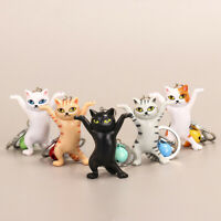 5 Colors Dancing Cat Keychain Cute Cartoon Attractive Ornament Keyring Kids Gift