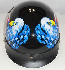 AMERICAN EAGLE FLAG HALF SHELL MOTORCYCLE BIKER HELMET MEDIUM DOT APPROVED VISOR