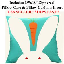 "18x18 18"" 18in WHITE BUNNY RABBIT CARROT HEAD Zipper Throw Pillow Case & Cushion"