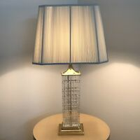Vintage Mid Century Modern City Scape Cut Crystal Signed Geyer Dresden Lamp