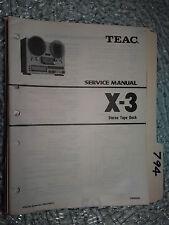 Teac x-3 service manual original repair book stereo dual tape deck player