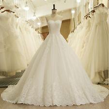 New White/Ivory Lace Wedding Dress Bridal Ball Gown Custom Size 6-8-10-14-16-18+