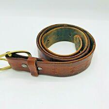 "Vintage Tooled Leather Belt Solid Brass Buckle 51"" Long Southwest Western Wear"
