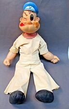"""large 21"""" tall 1958 Gund POPEYE DOLL in correct rare WHITE coveralls"""
