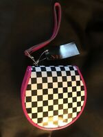 ADDICTED Purse-Style CD CASE Black White Checked Pink Strap