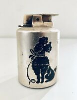 Beautiful Art Deco Vintage Silver Plated Table Lighter w Poodle Etching Design