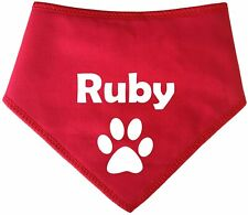 PERSONALISED Red With Paw Print Design Any Name Dog Bandana -