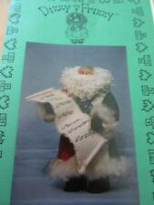 "Quilted Santa Sewing Pattern Wood Dowel Head Wooly Beard Cute! 10"" Tall"