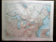Antique Big Size map North America. Usa. North East States Of Usa & Canada. 1898