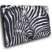 A429 Zebra Herd Fur  Pattern Funky Animal Canvas Wall Art Large Picture Prints