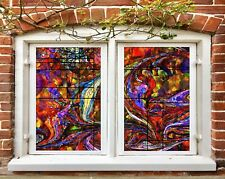 3D Red Pattern I527 Window Film Print Sticker Cling Stained Glass UV Block Amy
