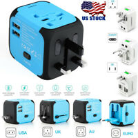US Universal Travel AC Power Charger Adapter Plug Converter Dual USB AU/UK/US/EU
