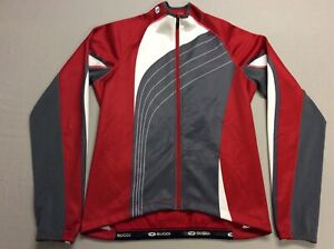 SUGOI FULL ZIP UP RACING CYCLING RED GRAY JERSEY STYLE JACKET ADULT SIZE MEDIUM