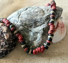 Surf Red, Black and Cream Wood Bead Elasticated Necklace surfer beach