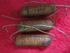 3 Vintage Nos Fast .0131 Mfd, 200Vdc Wax Capacitor