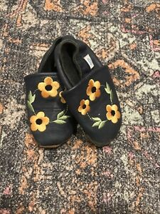 New Girls Dotty Fish Baby Toddler Leather Shoes Size 12-18 Months Navy Floral De