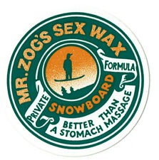 "MR ZOGS SEX WAX SNOWBOARD sticker decal ... Green 2.5"" Circular"