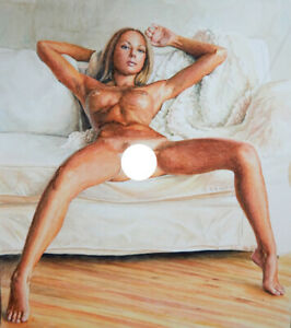 Original watercolor Painting Nude Realism female Frau Akt girl
