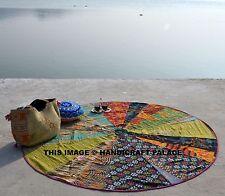 Bohemian Kantha Quilt Round Beach Tapestry Hippie Throw Yoga Mat Indian Roundie