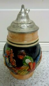 VINTAGE HAND PAINTED MINIATURE CERAMIC BEER STEIN WITH LID Germany 5 INCH