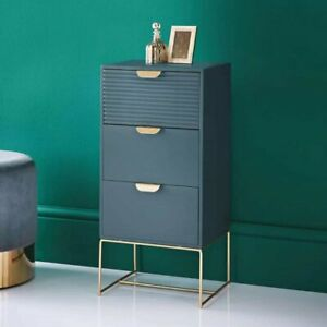 Loft Blue 3 Drawer Chest Tables With Rose Metal Gold Handles & Legs Bedroom
