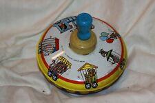 Vintage Ohio Art Spinning Top Metal Tin Toy w/ Wooden Knob Circus Animals Train