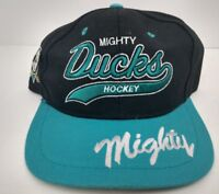 MIGHTY DUCKS Vintage 90's YOUTH Snapback Hat Cap Trucker NHL Hockey Embroidered