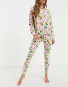 Asos Design Avocado Merry Christmas T-shirt & Joggers Pajama Set Size UK 8 New