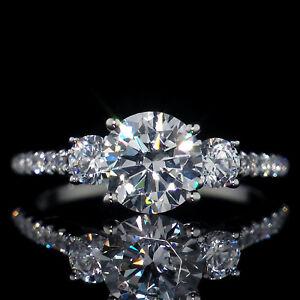 2.46 ct Three Stone Created Diamond Engagement Ring 14K Solid White Gold