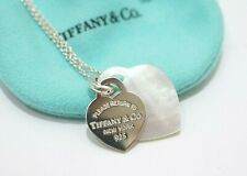 Tiffany & Co. Silver Return To Tiffany Double Heart Mother of Pearl Necklace