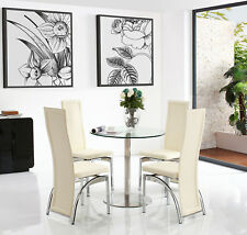 Target 80cm Round Steel & Glass Dining Table and 2 Faux Leather Ivory Chairs