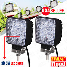 2X 27W 4inch Flood Square LED Work Light Bar Offroad Driving DRL SUV Truck 4WD