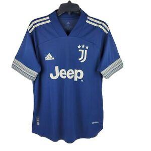 Adidas Men Juventus 2020-21 Blue White Authentic Away Soccer Jersey FN1007 Sz M