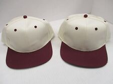 ONE PAIR-NEW NATURAL caps/hats-MAROON bill,eyelets & Button-6 panel-COTOON[A195
