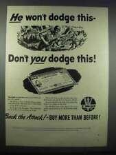 1944 U.S. Treasury 5th War Loan Ad - He Won't Dodge