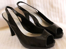 Black Fioni Faux Patent Leather Peeptoe Court Shoes sz 7.5