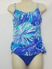 NWOT Swim Solutions 2 Piece Tankini w/ Bikini Bright Blue Floral Print Size 10