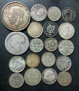 Vintage World Silver Coin Lot - 1847-1963 - 19 Uncommon Silver Coins - Lot #J19