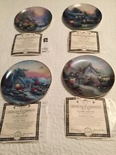Set Of 4 Thomas Kinkades Enchanted Cottages Plates