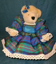 """Muffy Vanderbear 13"""" FLUFFY Holiday Collection Blue/Green Plaid Dress GORGEOUS!"""