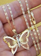 14k yellow white rose gold chain 20 inches long 2 mm and butterfly pendant set