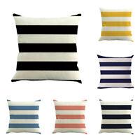 Stripe Painting Linen Cushion Cover Sofa Bed Throw Pillow Case Sofa Home KE