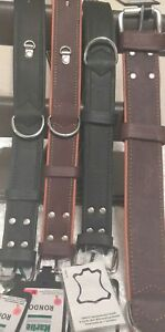 KARLIE RONDO WIDE DOG COLLAR DOUBLE LEATHER BROWN BLACK LARGE/MEDIUM RIVETTED