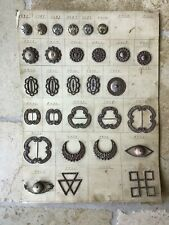 antique German Sample board w/metal buckles & buttons for sale