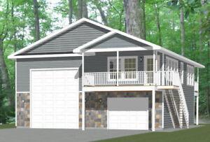 36x40 Apartment with 1-Car 1-RV Garage -- PDF Floor Plan -- 902 sqft -- Model 1I